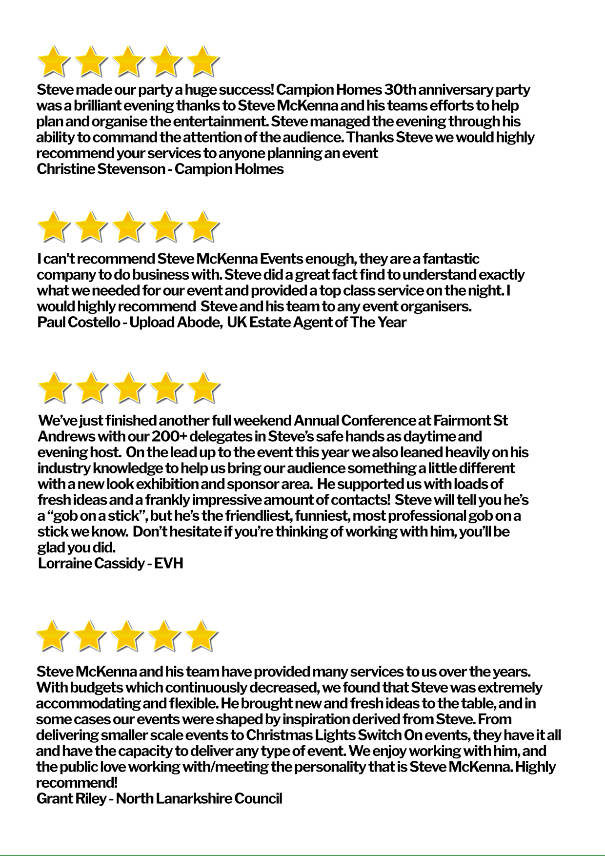 Various five star reviews for the McKenna Media Group