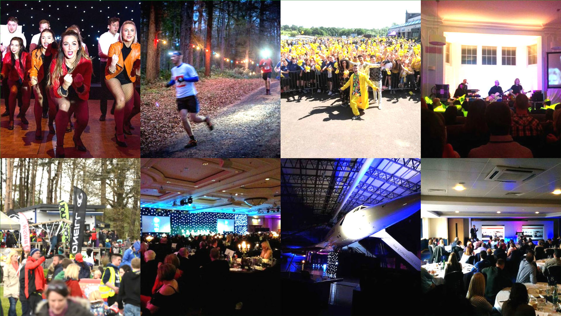 Montage of 8 images from Live Events: Cabaret, running, open air concert, acoustic performance, festival, charity ball, concert under Concorde and conference