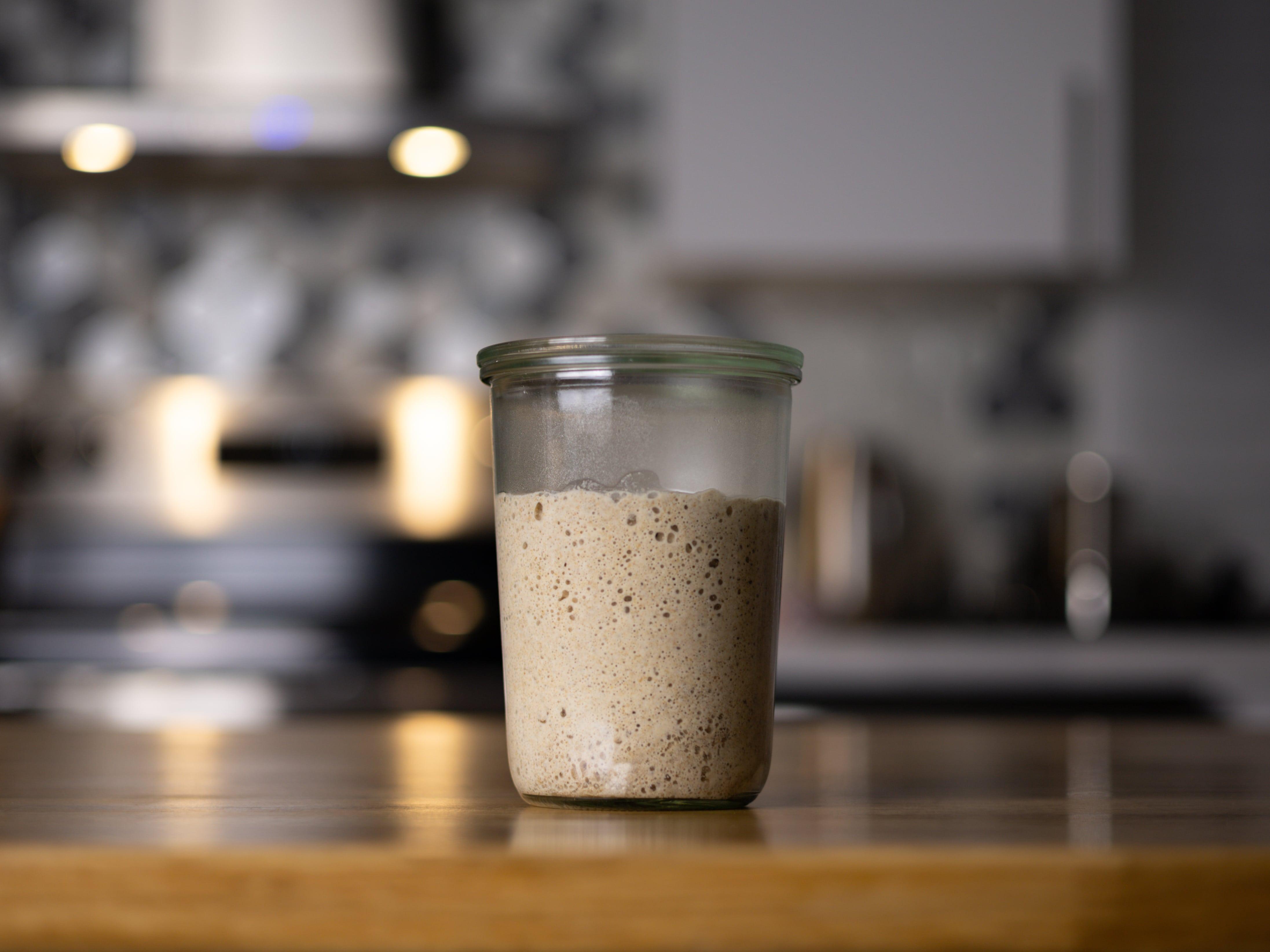 A jar of sourdough starter