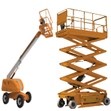 IPAF MEWP 3A/3B Scissorlift (right side) and Cherrypicker (left side) in orange advertising training courses