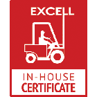 This is our 'In House' training logo. It is a red box with our logo in white (a forklift truck with the word 'Excell' above) and below reads 'In-House Certificate'