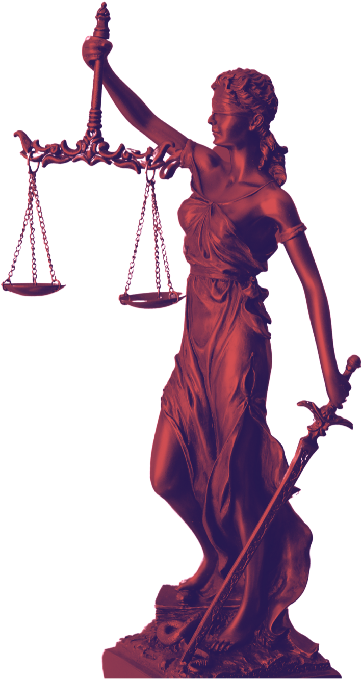 Lady Justice in red and purple duotone