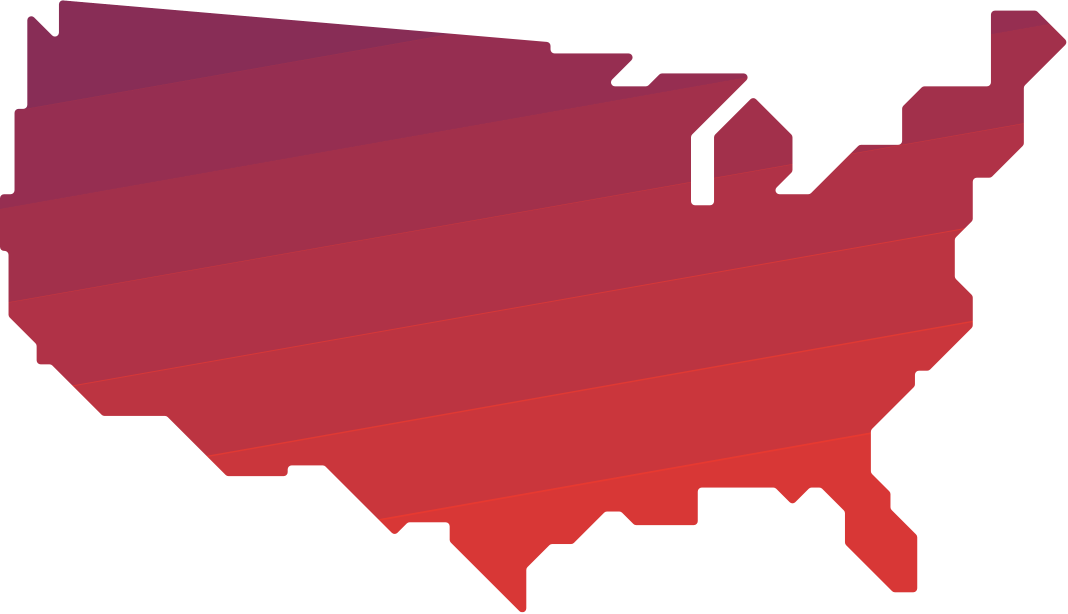 Map of the United States in red and purple