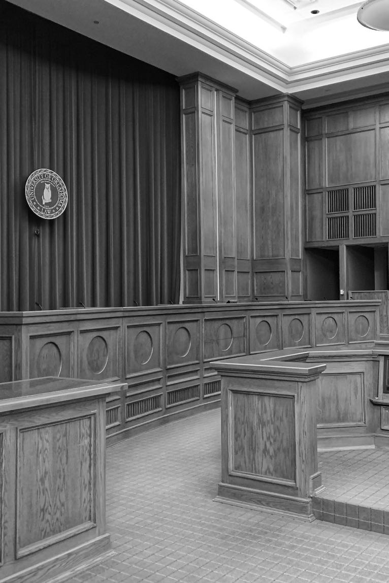 Empty courtroom in black and white