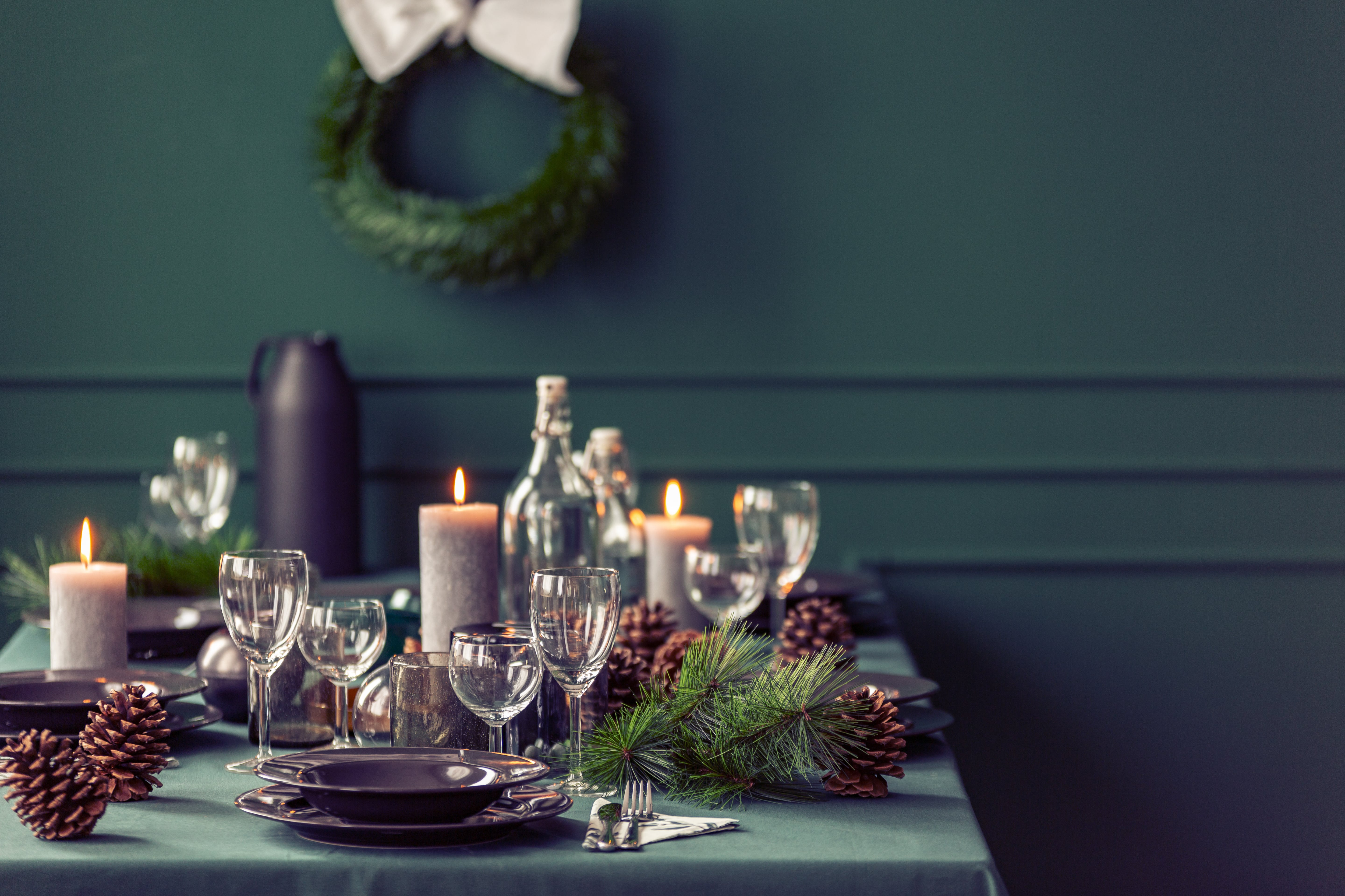 Dinner table setting for a festive gathering