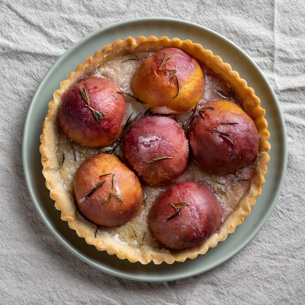 Rustic Peach & Rosemary Tart