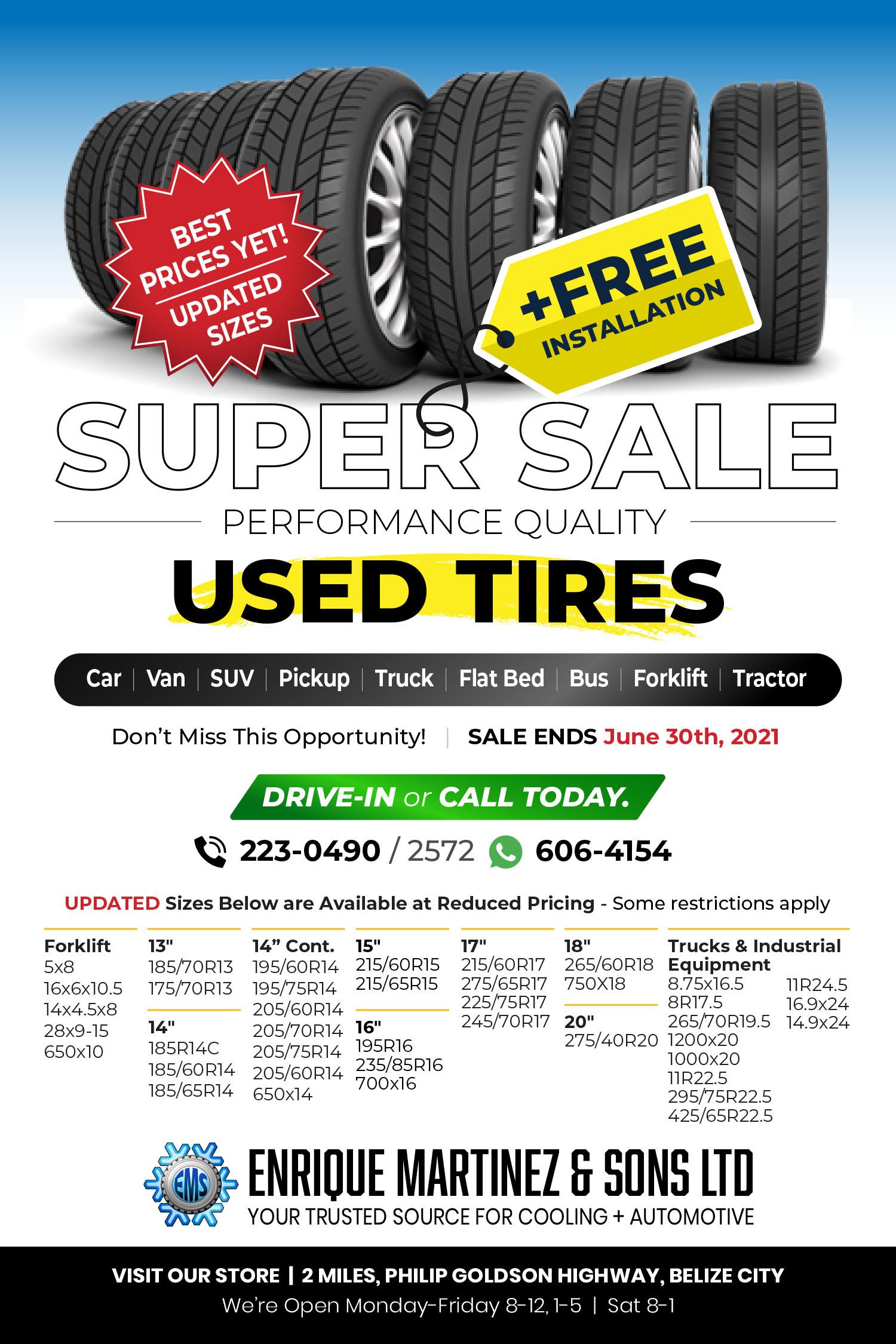 Advertisement for used tires distributed Enrique Martinez & Sons Ltd Belize
