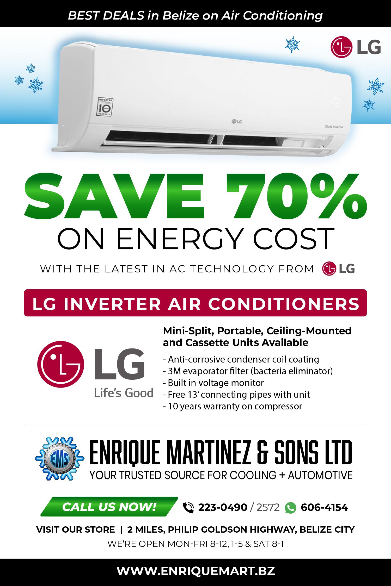 Advertisement for LG Inverter Air Conditioners distributed Enrique Martinez & Sons Ltd Belize