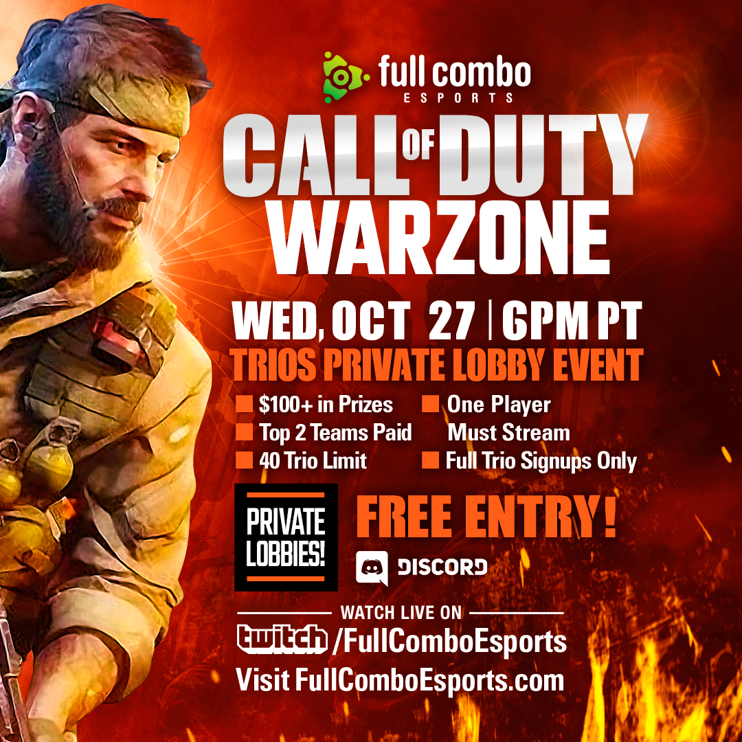 Full Combo Esports Call of Duty Warzone Private Lobby Tournament Event, Wednesday October 27, 2021
