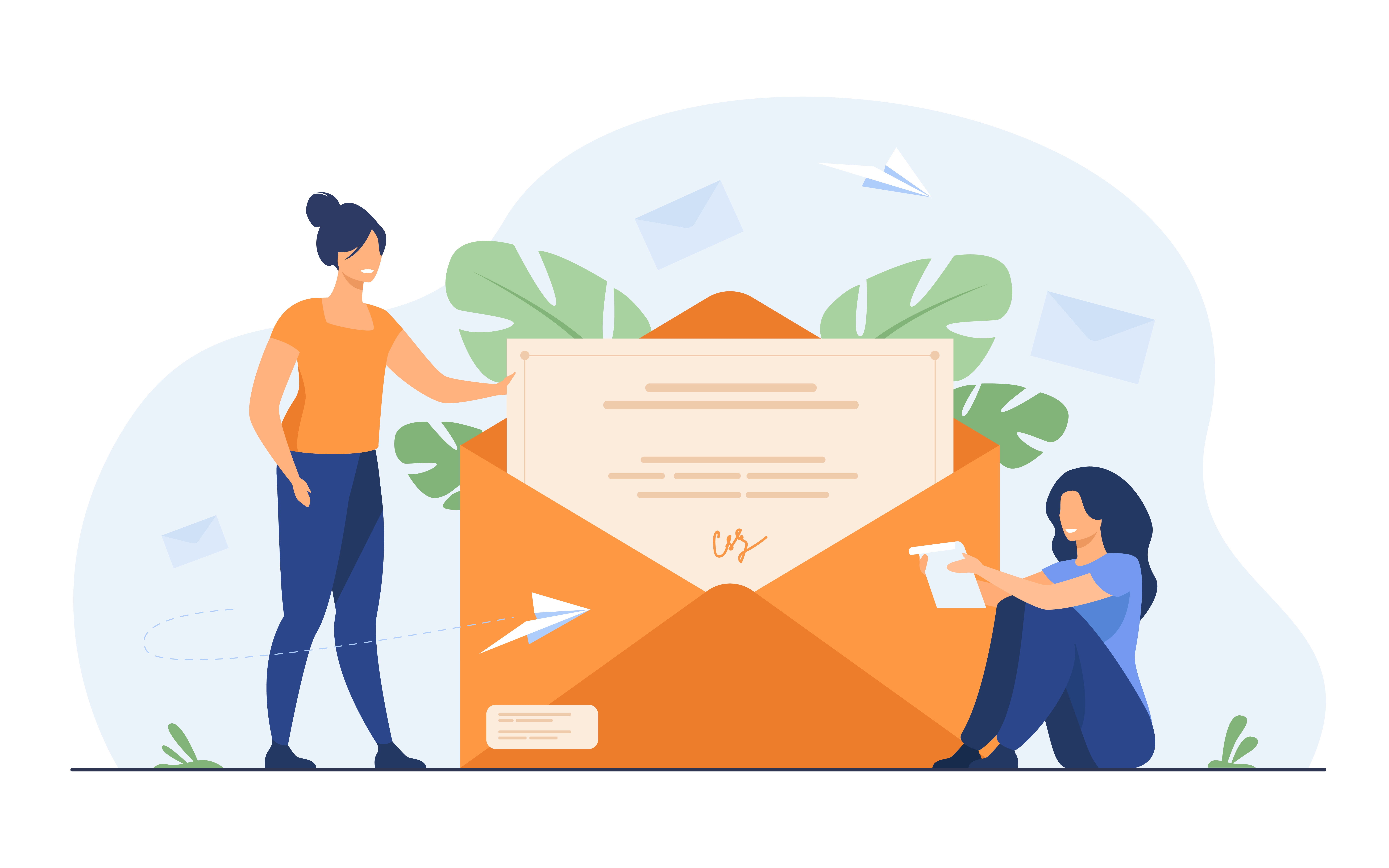 Illustration of two women putting a big letter in a big enveloppe.