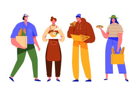 Illustration of people holding food.