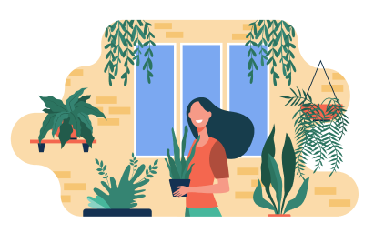 Illustration of person in room with a lot of plants.