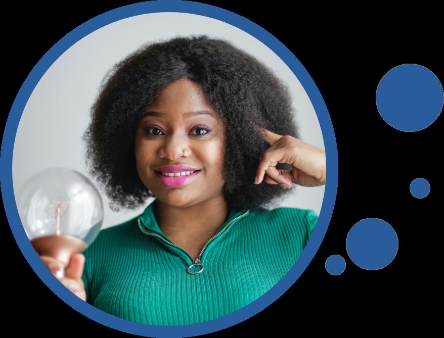 Lady holding up light bulb to symbolize having brilliant ideas.