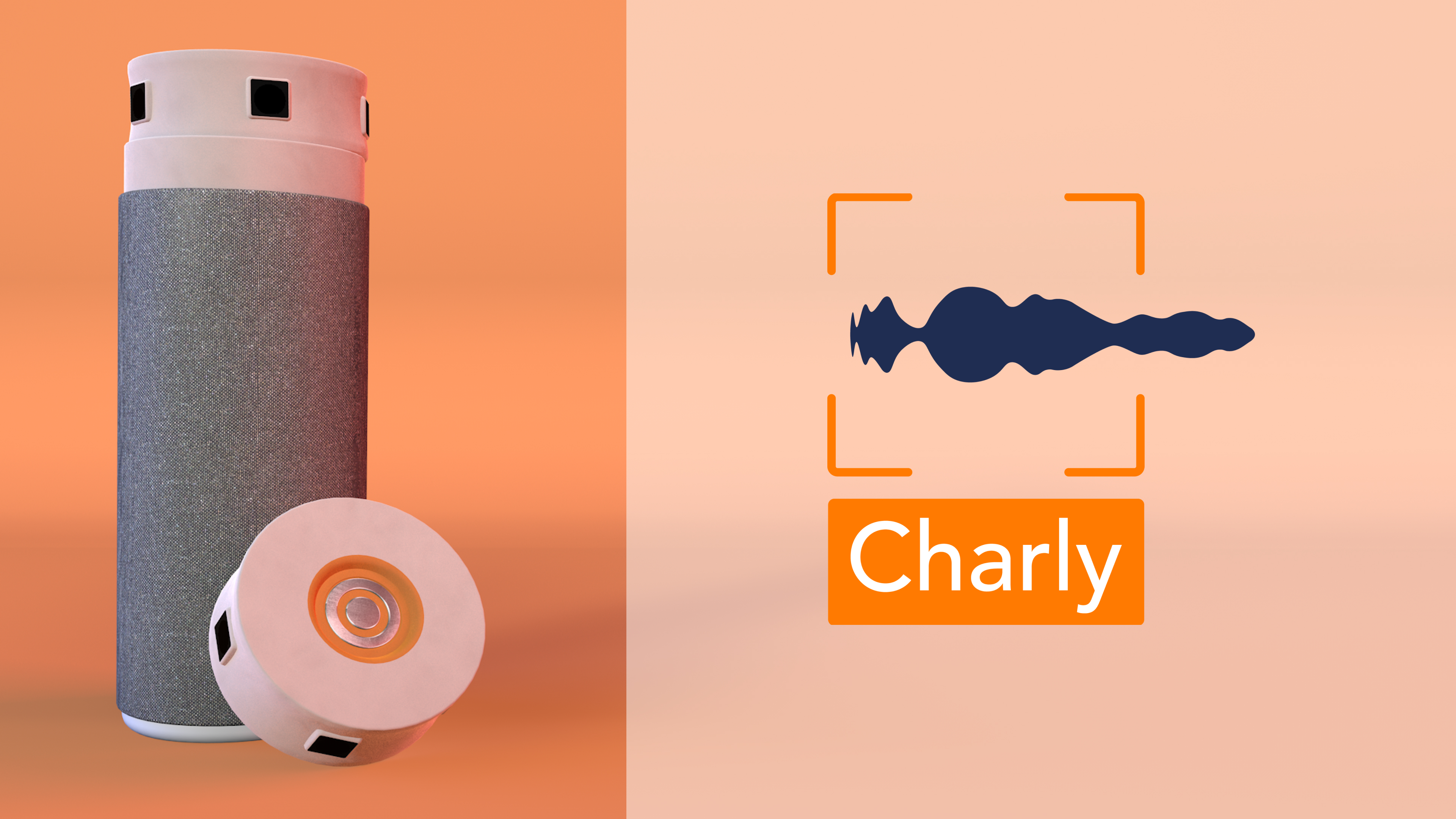 rendering of a camera-voice-assistant on the left with a logo on the right