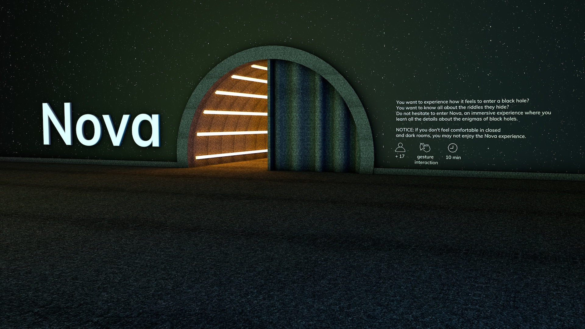 rendering of an entrance for an immersive exhibition with big typo on the wall