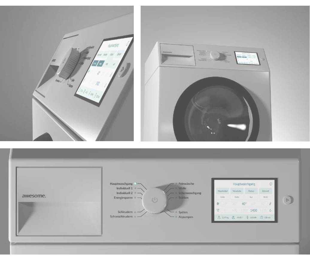 three perspective renderings of a redesigned washing machine