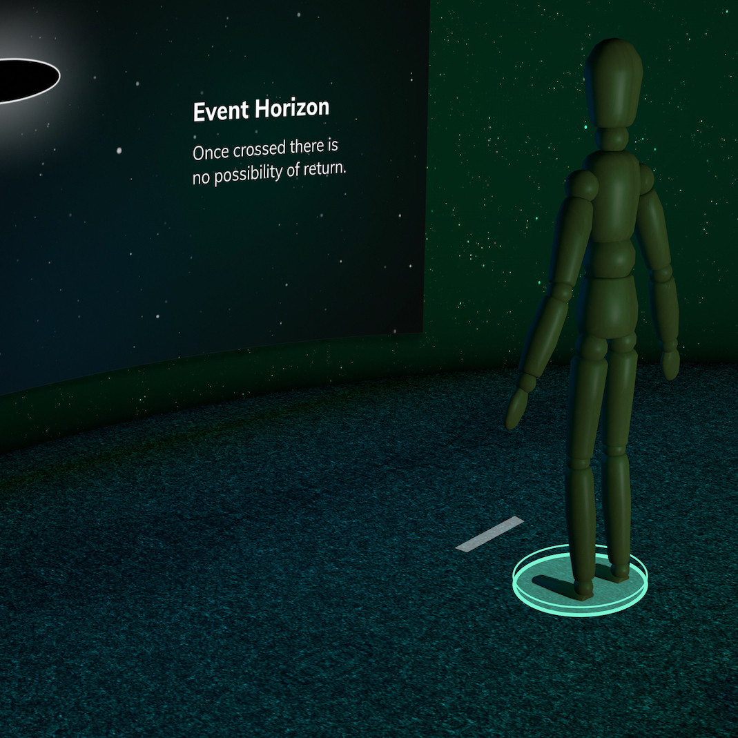 rendering of a wooden figure in front of an interactive screen
