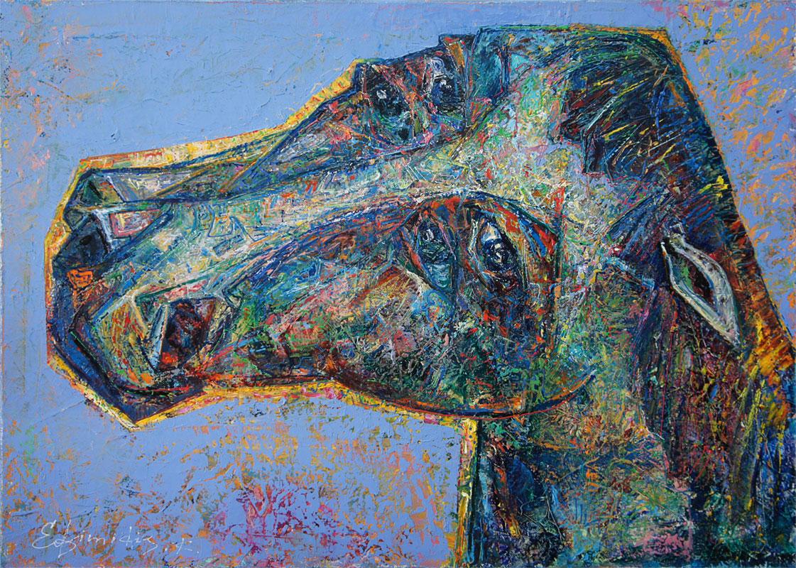 """Blue Horse"", Oil, Canvas, (50x70cm)"