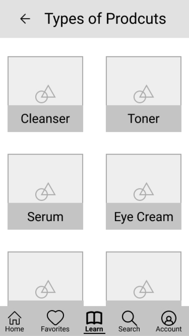 Product Type Wireframe screen