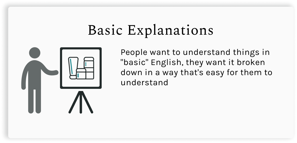 """Basic Explanations.  People want to understand things in """"basic"""" English, they want it broken down in a way that's easy for them to understand."""