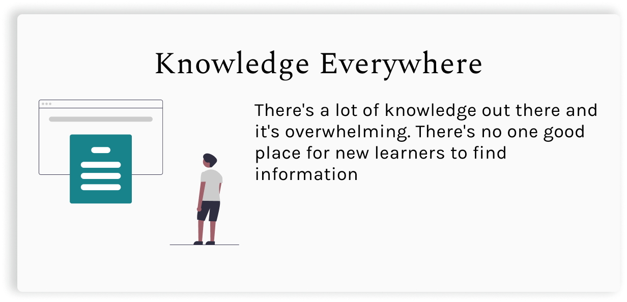 Knowledge Everywhere.  There's a lot of knowledge out there and it's overwhelming. There's no one good place for new learners to find information.