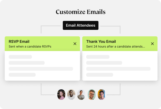 Event management with customized emails.