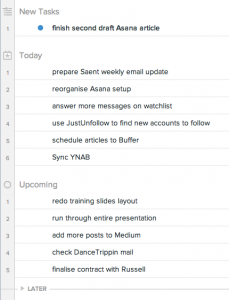 Screenshot of My Tasks view in Asana with a new task added.