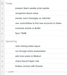 Screenshot of my day in the My Tasks view in Asana.