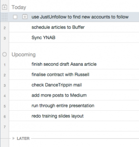 Screenshot of My Tasks view in Asana, one day later: no annoying red, overdue tasks.