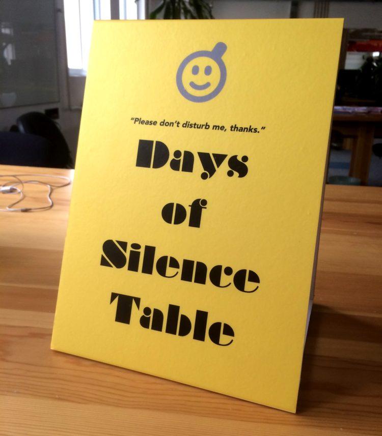 creativity days of silence table