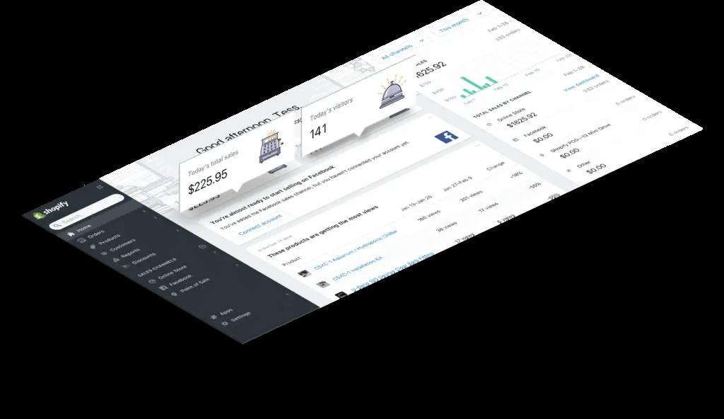 Interface Shopify CMS E-commerce