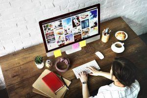 A person creating content through Interactive content creation platform.