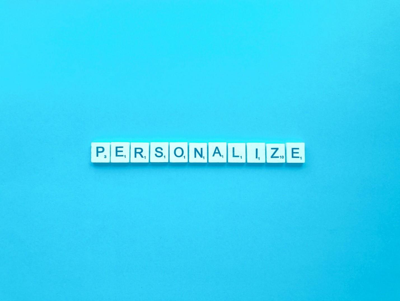 Personalize written in blocks.