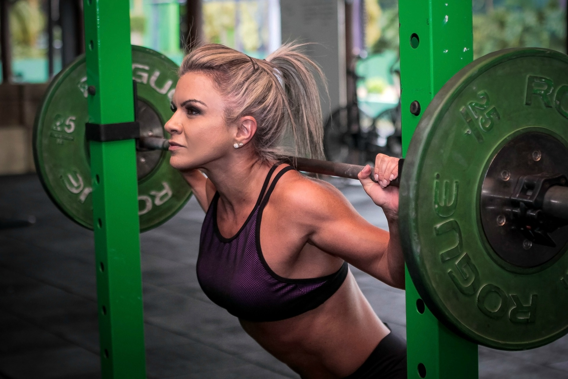 Woman doing weightlifting.
