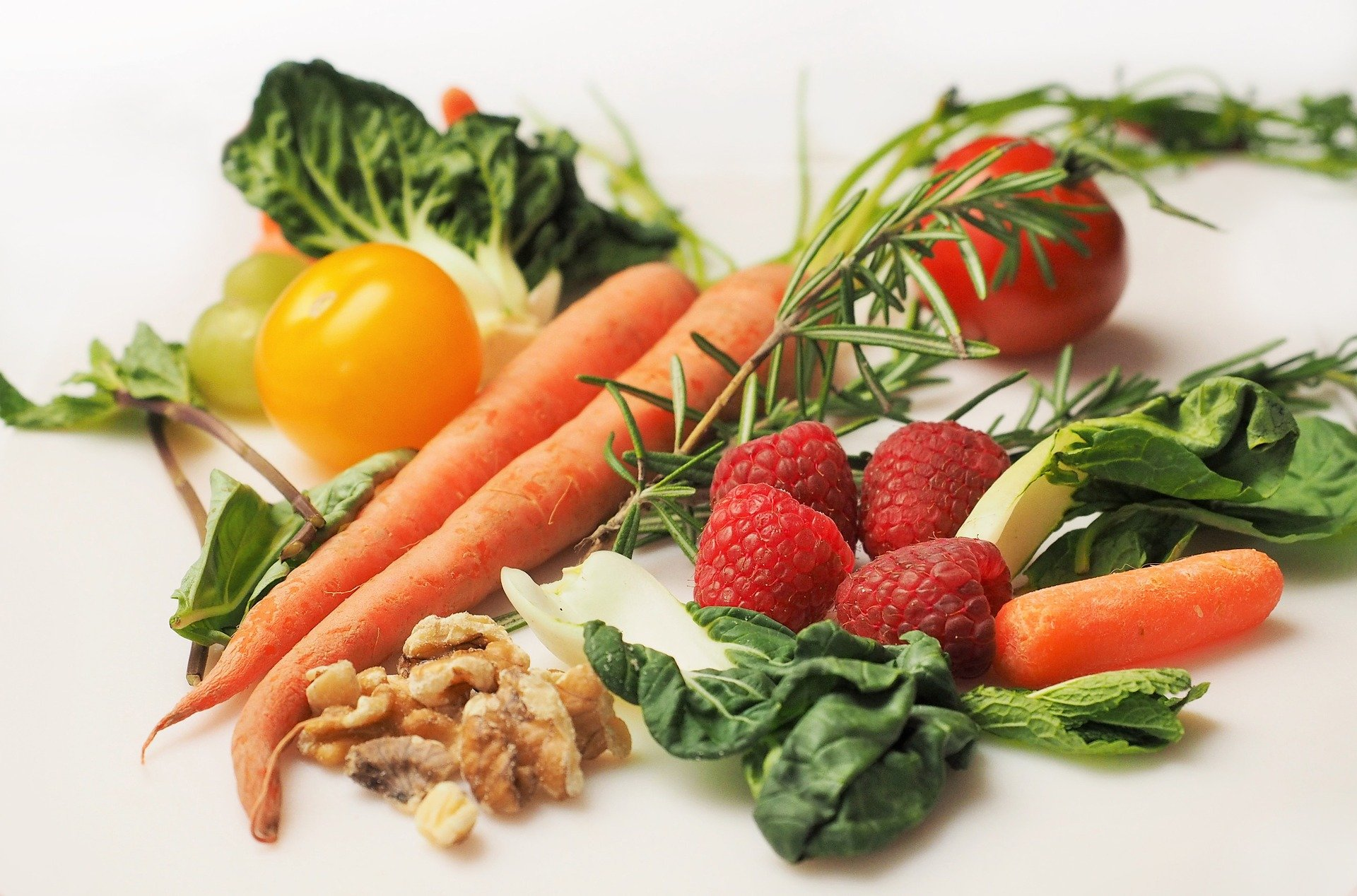 Rasperries, nuts and vegetables.