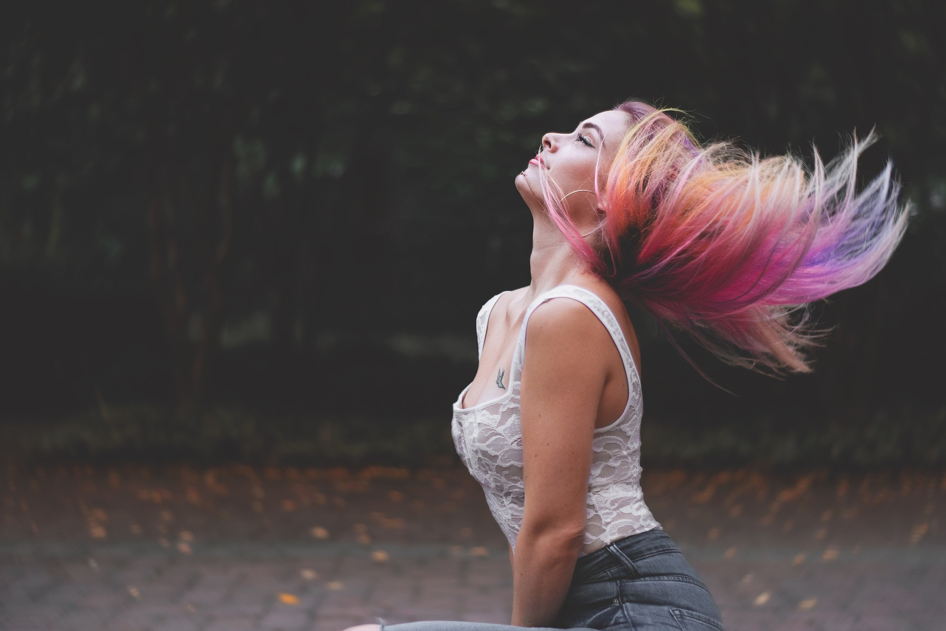Woman with colorful hair.