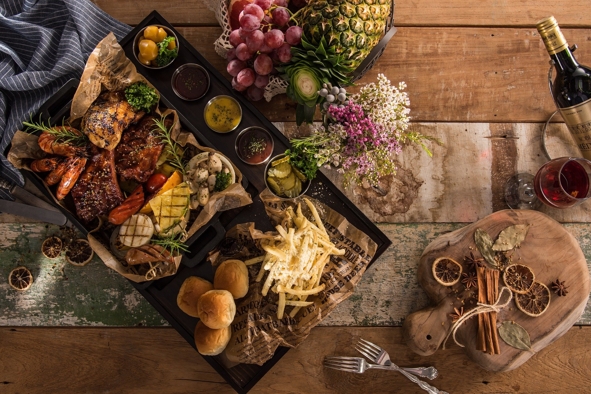 Different kinds of foods on a tray.