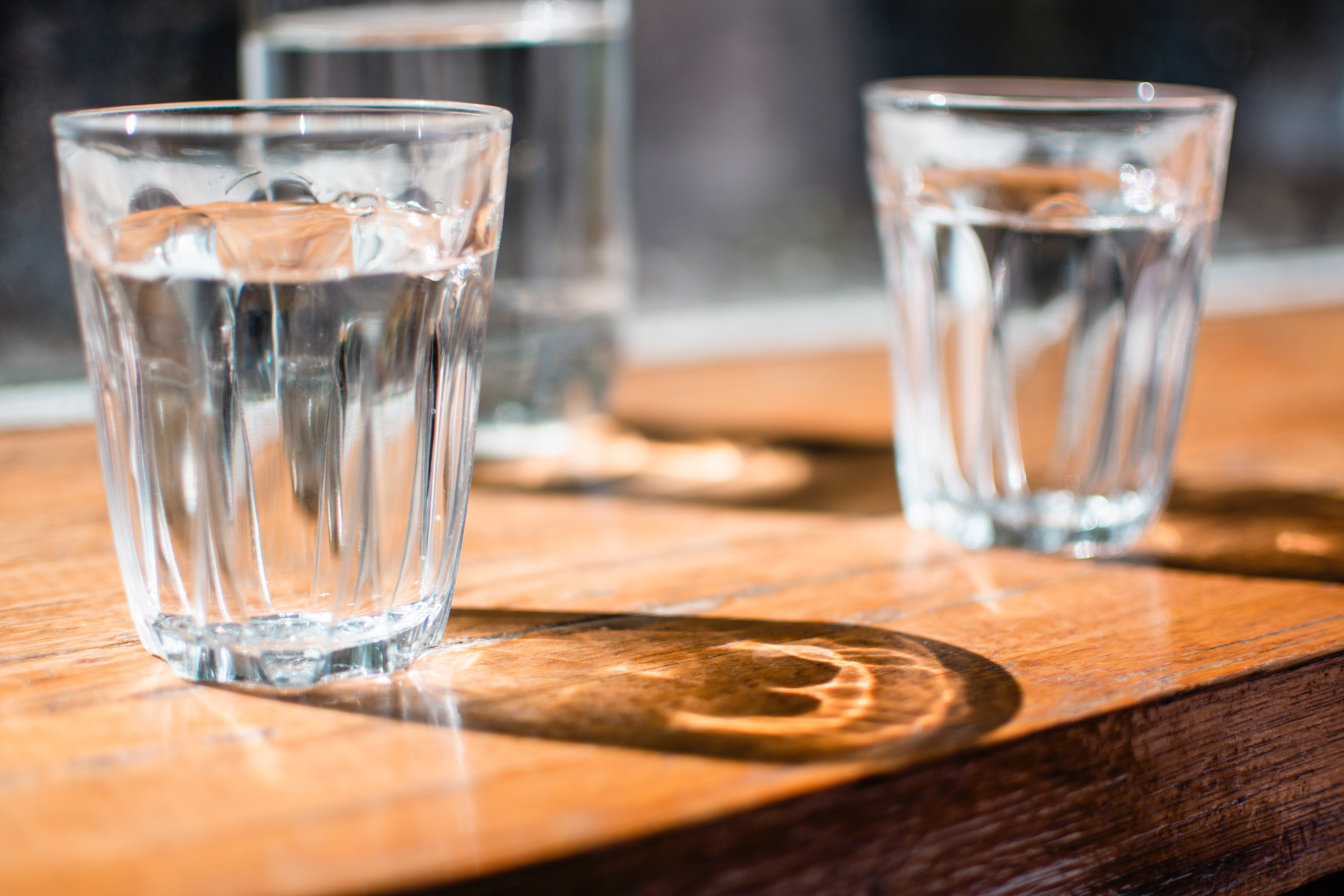 Two glasses of water.