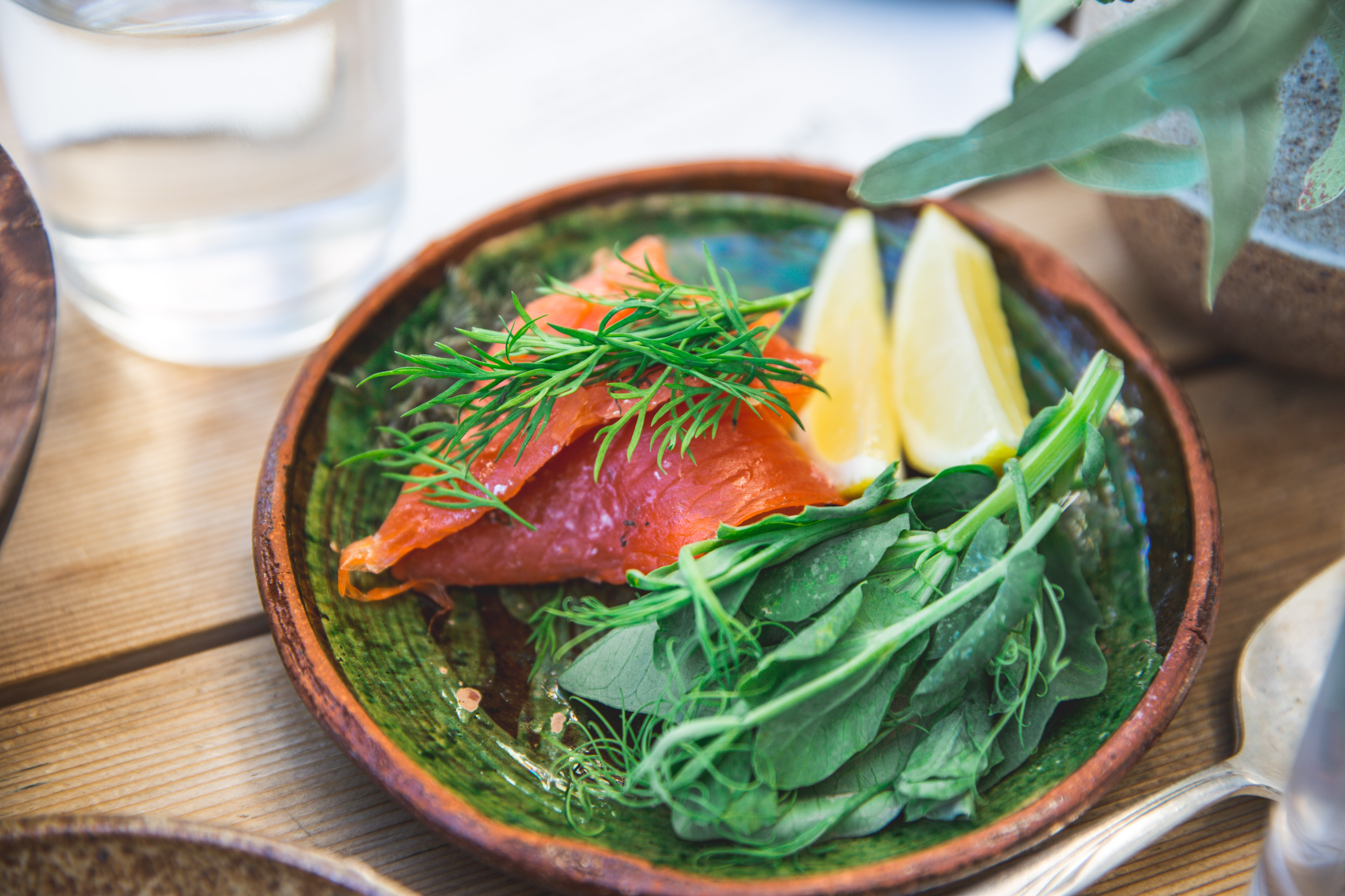Salmon with green vegetables.