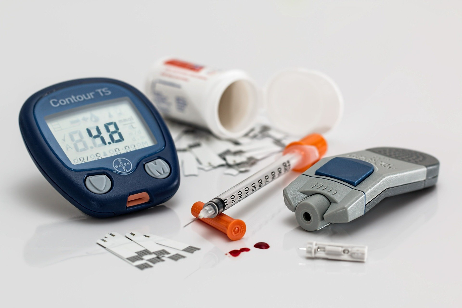 Syringe and a blood sugar measuring device.