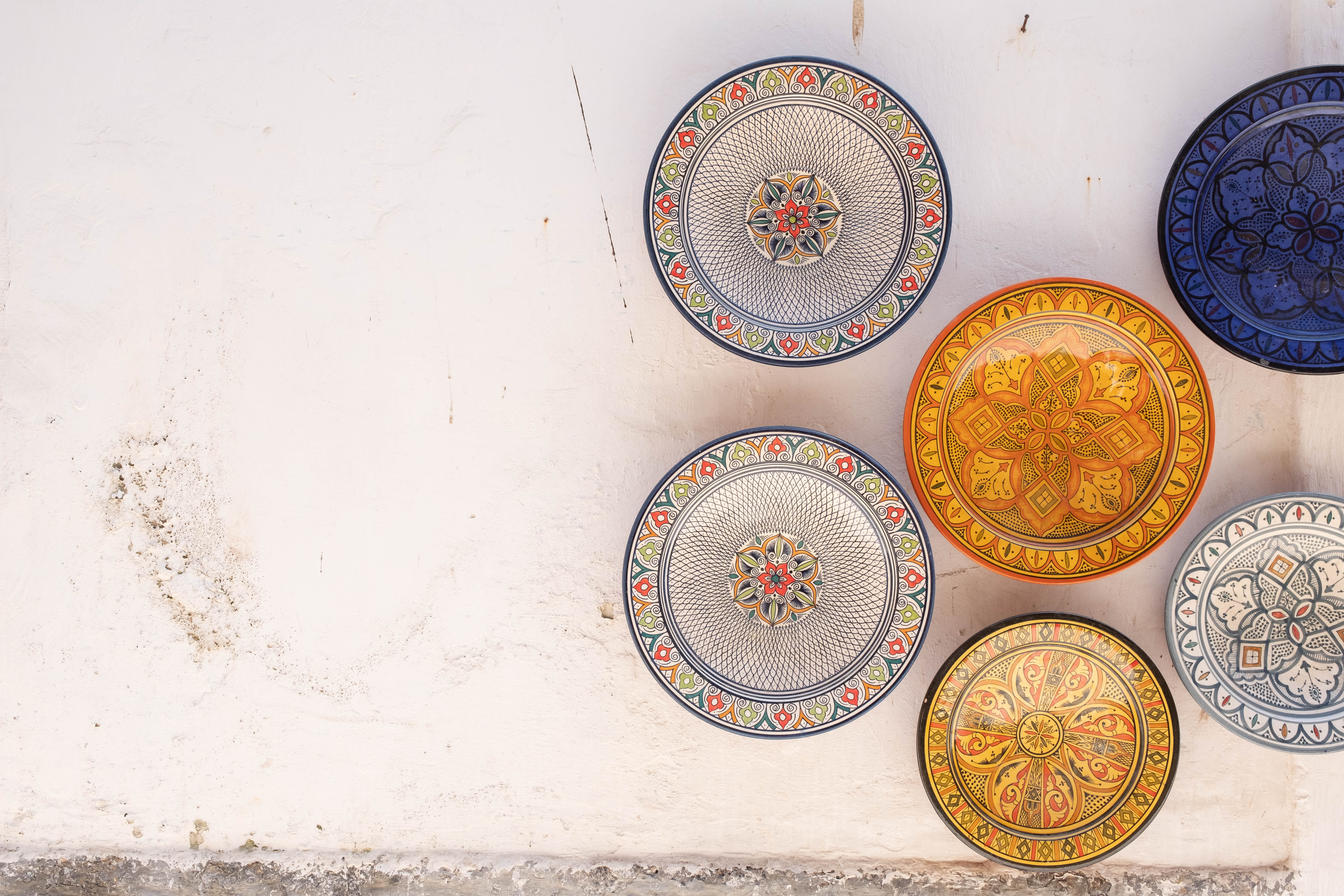 A collection of colorful empty plates.