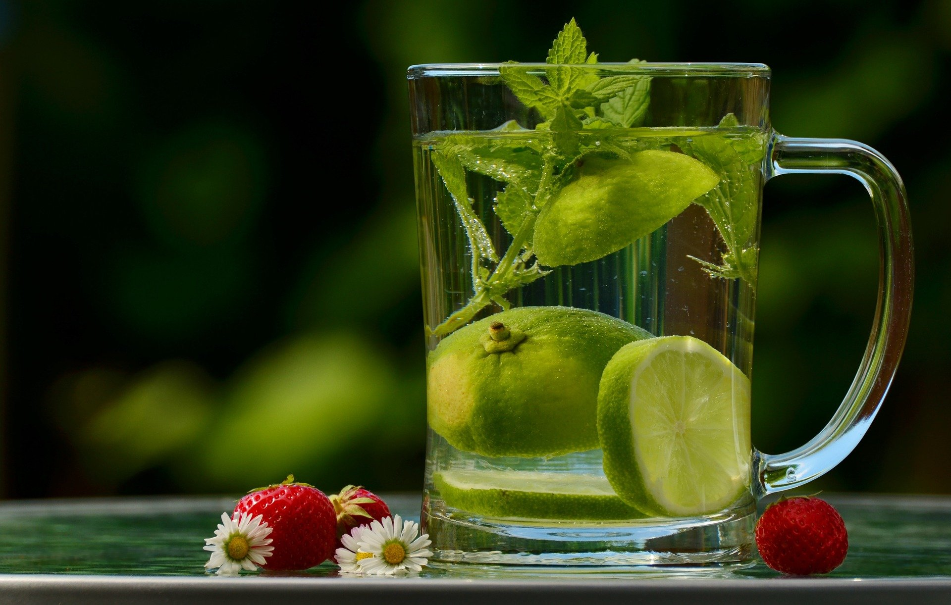 Water with mint and lime.
