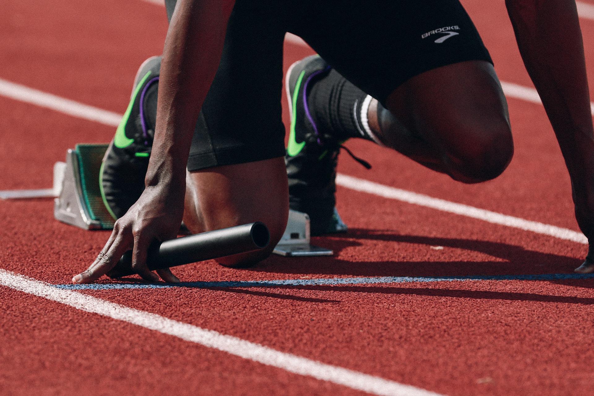 Runner in starting position.