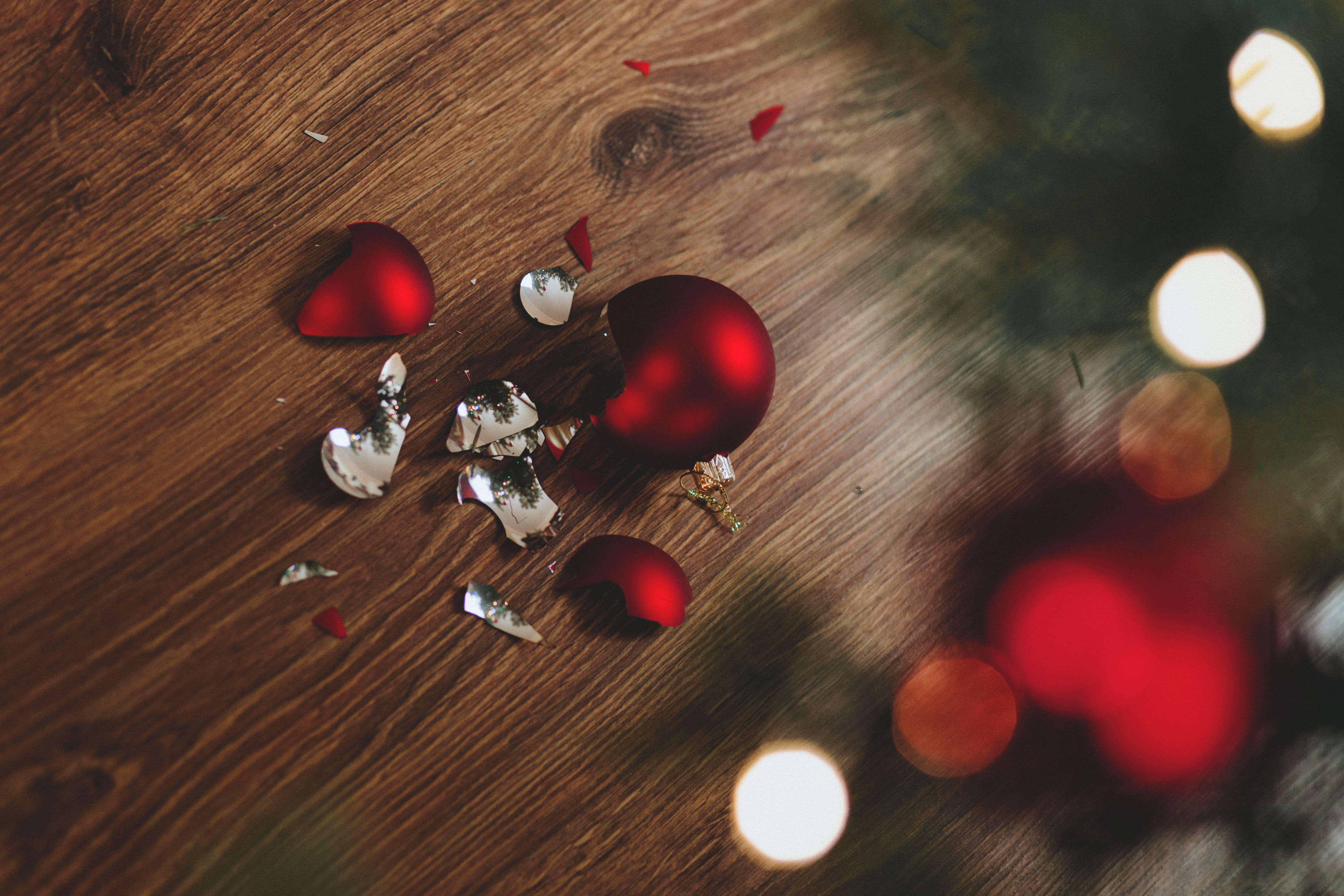 Broken red Christmas baubles.