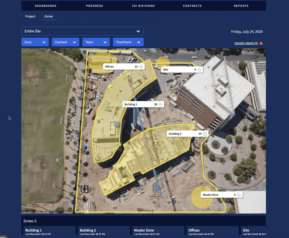 Moving screenshot of the Eyrus platform access control by zone feature