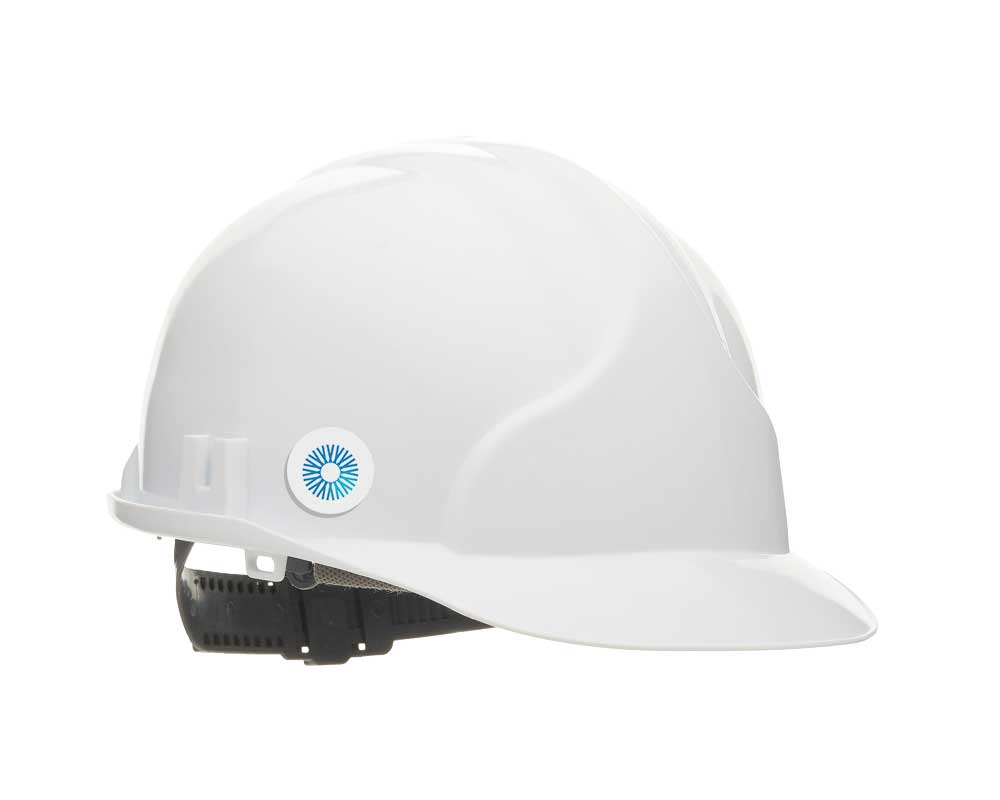 Eyrus bluetooth low energy badge is shown on a hardhat