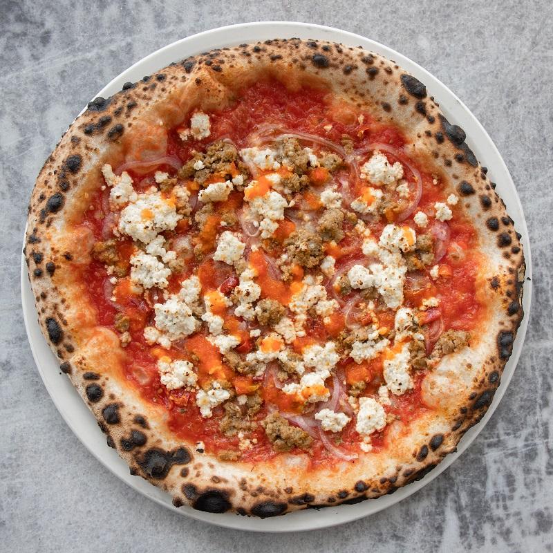 pomodoro, Nicli's Italian sausage, red onion, Calabrian chili, house-made ricotta, oregano, grana padano, Nicli's hot sauce