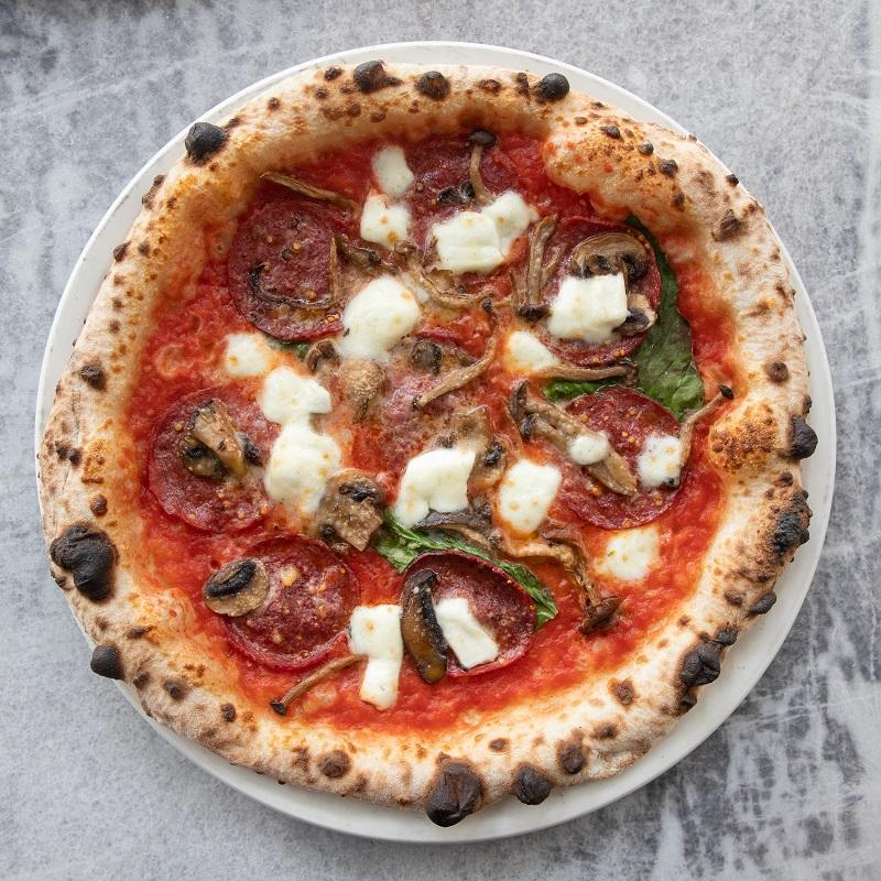 pomodoro, grana padano, buffalo mozzarella DOP,beef salami, mushroom trio, truffle oil, basil