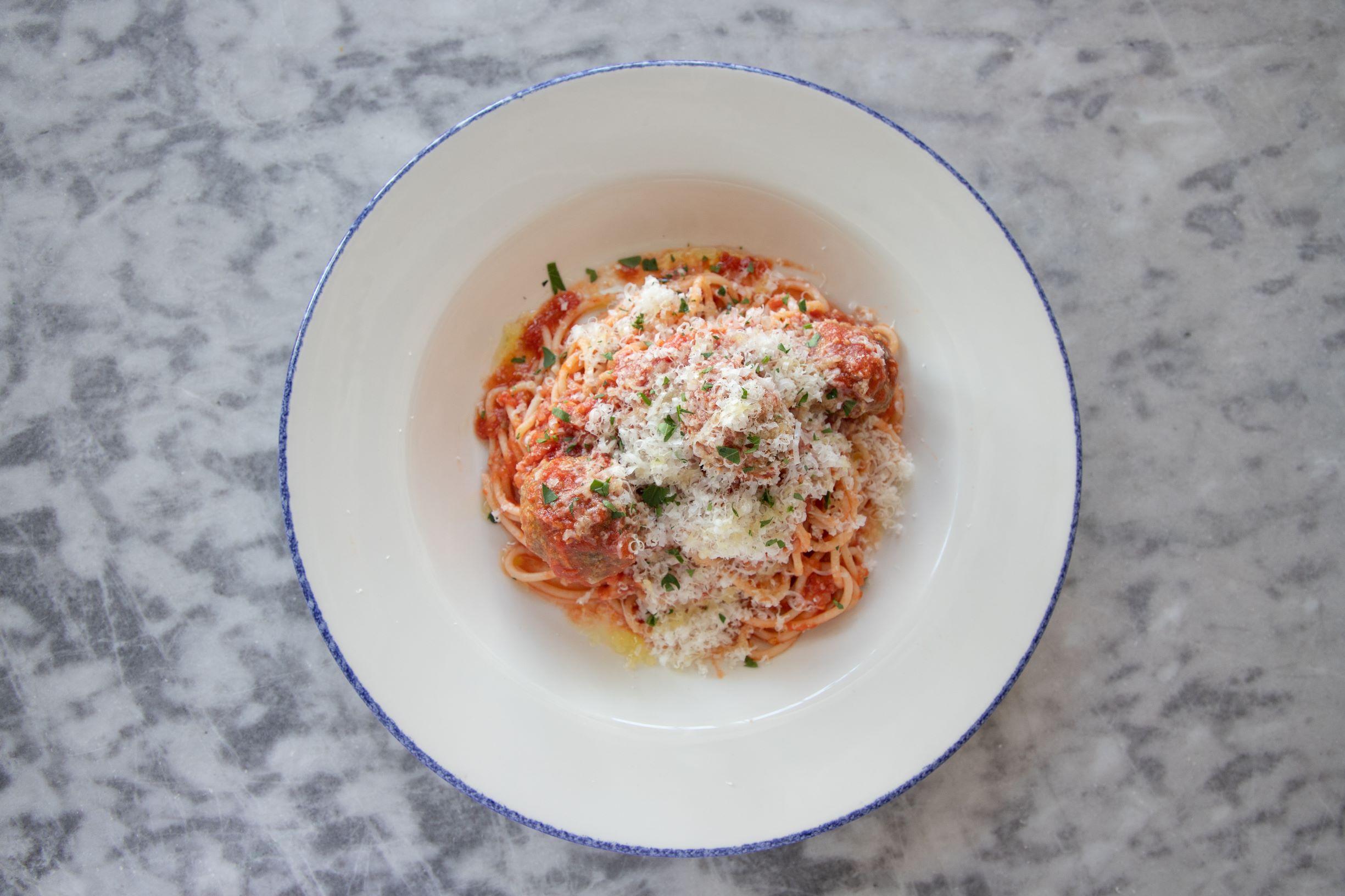fresh spaghetti with nicli's pork and beef meatballs