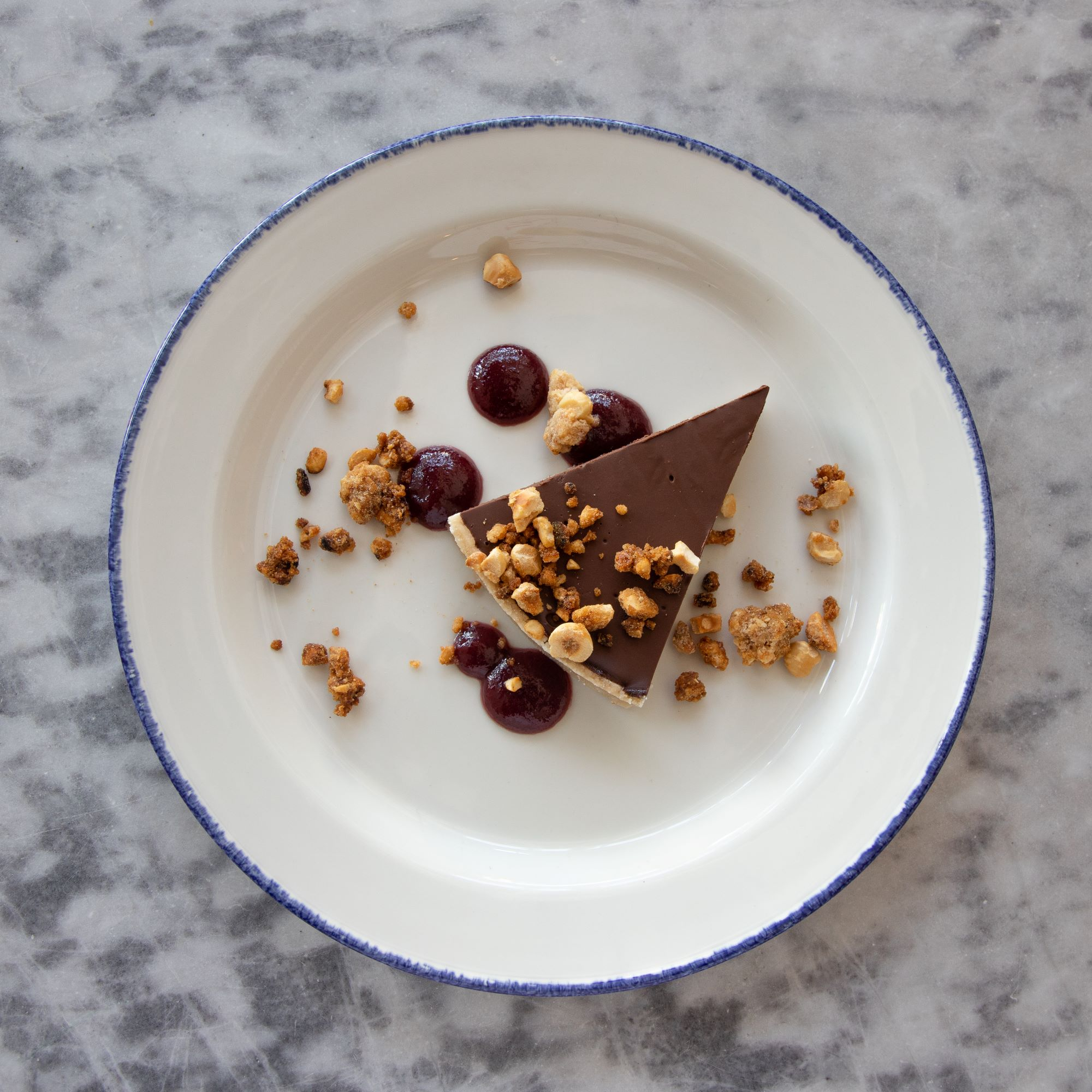 sour cherry coulis, candied hazelnuts   Vegan